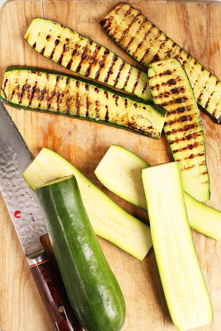 Sliced and grilled zucchini