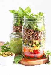 Wild Rice Mason Jar Salad with Basil Pesto