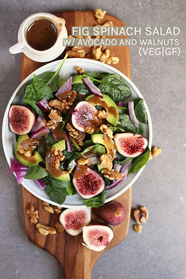 This Spinach Fig Salad is made with fresh figs, avocado, toasted walnuts, and homemade balsamic vinaigrette for a delicious fall salad that will fill you up. #vegan #vegetarian #salads #figs #fallrecipes #fallsalads #spinach #healthy #glutenfreerecipes #mydarlingvegan