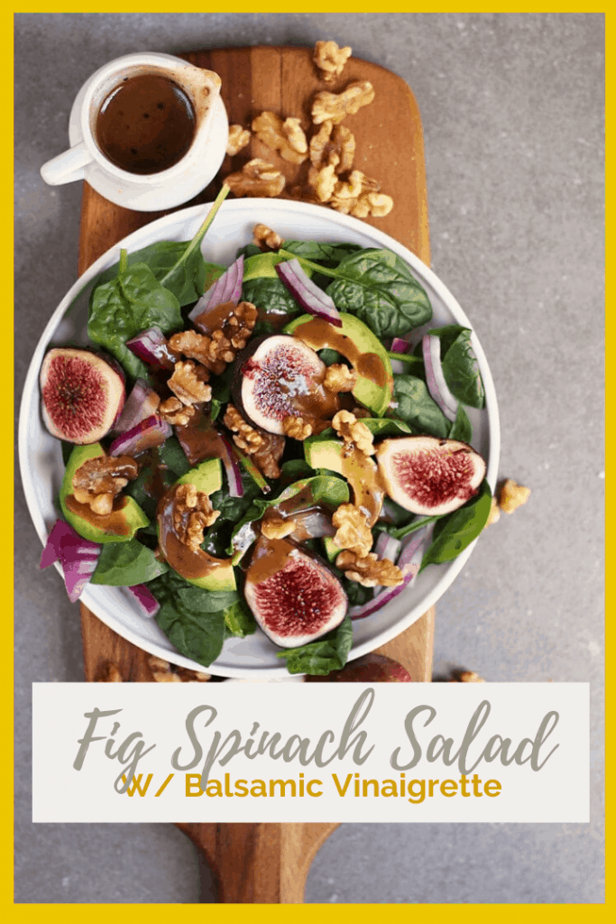 You're going to love this Spinach Fig Salad. It is made with fresh figs, creamy avocado, toasted walnuts, and homemade balsamic vinaigrette for a delicious fall salad that will fill you up.