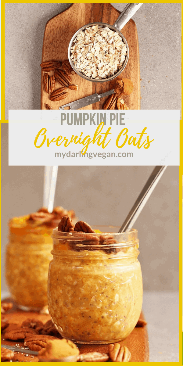 These Vegan Pumpkin Pie Overnight Oats are a delicious and easy grab-n-go breakfast that can be made in under 5 minutes and will have you thinking you're eating pie for breakfast.