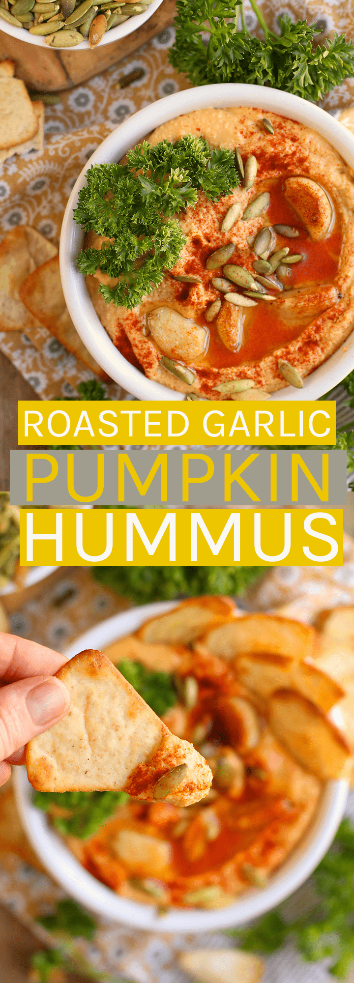 A classic dish with a seasonal twist, this Roasted Garlic Pumpkin Hummus is the perfect snack for all your fall gatherings.