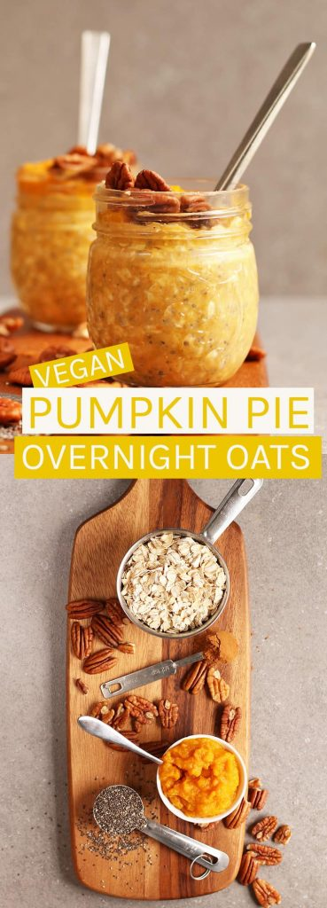 These vegan Pumpkin Pie Overnight Oats are creamy, dreamy, and spiced to perfection. Click the photo for the full recipe.