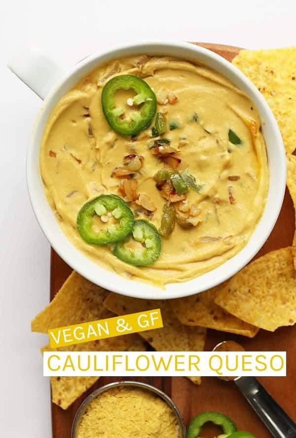 A delicious vegan queso dip made with sautéed cauliflower, raw cashews, and nutritional yeast. Serve with your favorite tortilla chips. #vegan #vegancheese #veganqueso #veganrecipes #partyfood