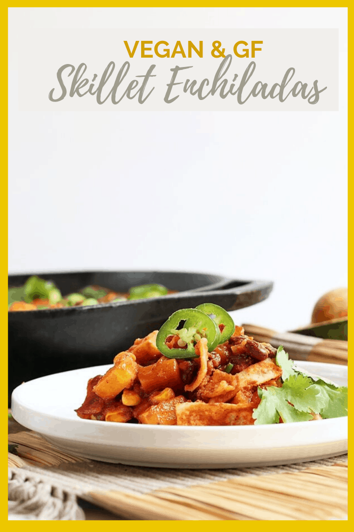Dinner is made easy with this one-pot vegan enchiladas skillet recipe. It's made with butternut squash and black beans for a seasonal and hearty gluten-free dinner.
