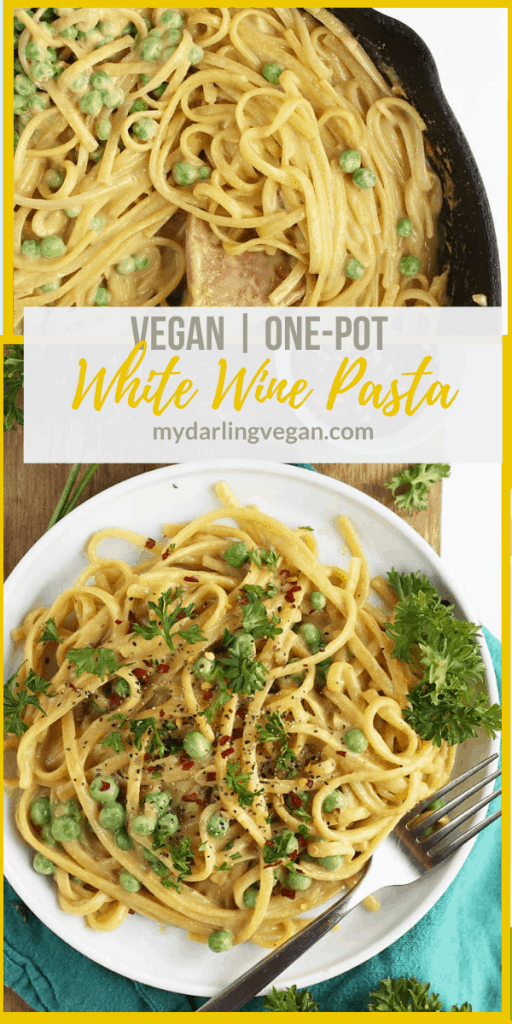 Make dinner quick and easy with this delicious 30 minute, one-pot, vegan Garlic White Wine Pasta. It is topped with fresh parsley, peas, and red pepper flakes for a complete meal.