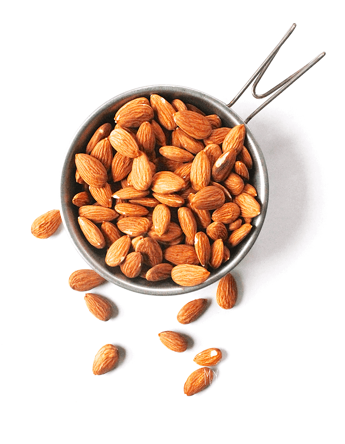 Jar of raw almonds