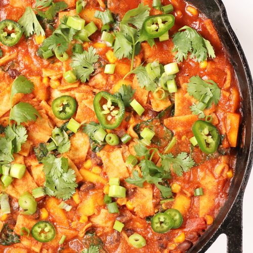 Vegan Skillet Enchiladas in a large cast iron skillet