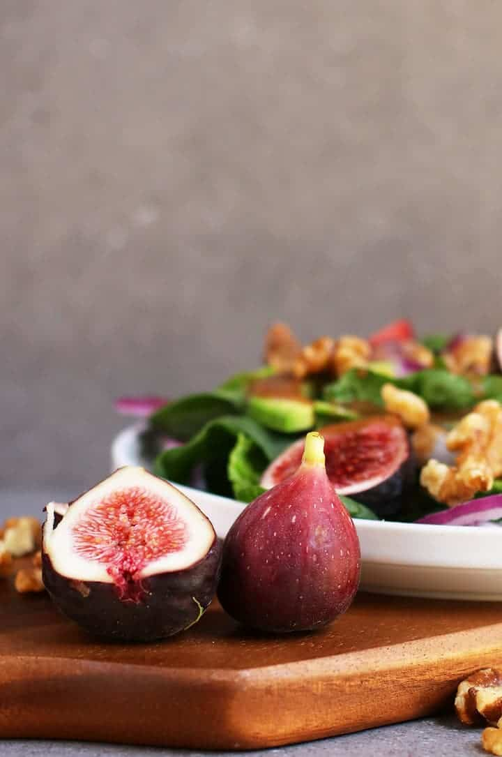 Fig Salad next to a large fig