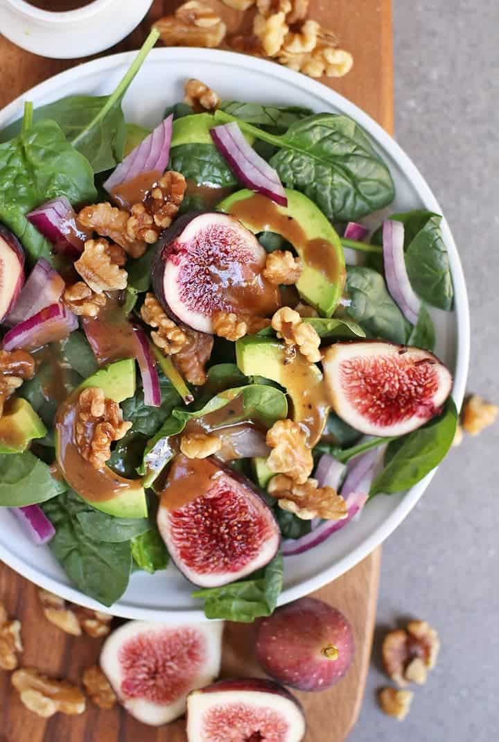 Close up of Fig Spinach Salad