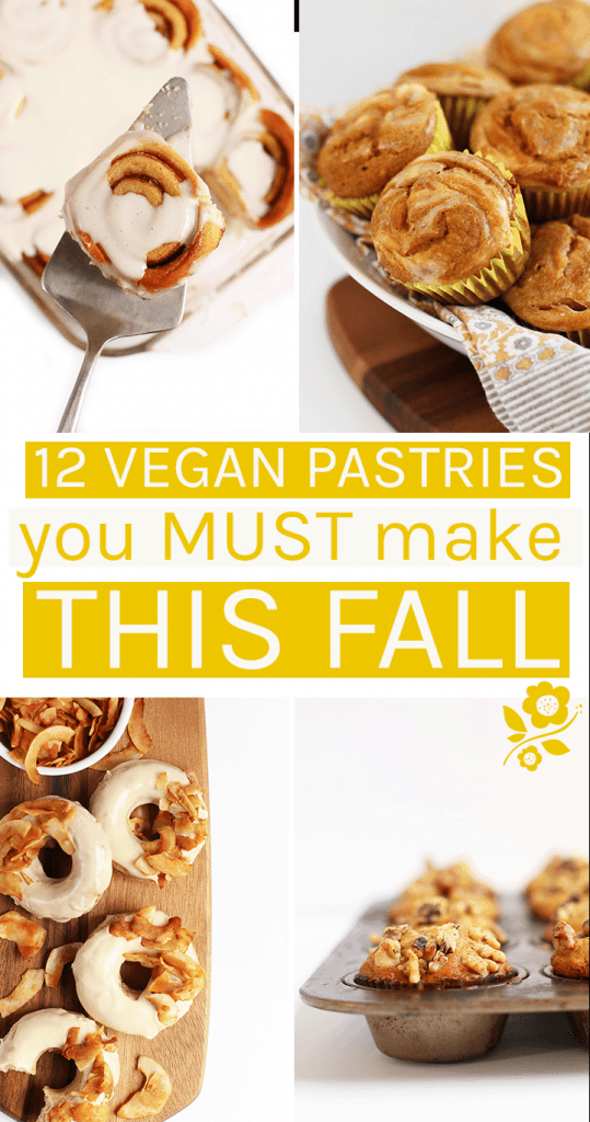 A round-up of the best autumnal vegan pastry recipes. With everything from doughnuts to muffins to cinnamon rolls, there is a vegan baked good for everyone. Pastries
