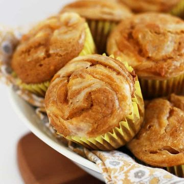 Finished muffins stacked in a bowl
