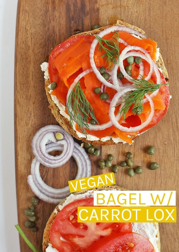 This vegan lox sandwich is made with roasted and marinated carrots, cream cheese, capers, and fresh dill for a delicious breakfast sandwich. #vegan #veganlox #veganbreakfast #veganrecipes