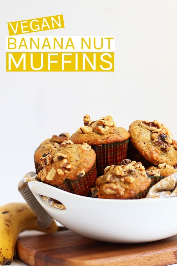 Start your morning off right with these deliciously spiced, walnut filled, and perfectly flavored vegan Banana Nut Muffins. Get your house smelling heavenly in just 30 minutes.  #vegan #veganrecipes #muffins #banana #veganbreakfast