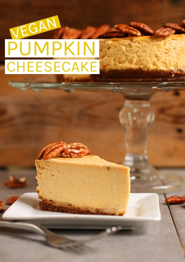 Rich and creamy vegan Pumpkin Cheesecake made with a gingersnap crust and topped with toasted pecans for the perfect vegan Thanksgiving dessert. #vegan #vegancheesecake #veganthanksgiving #pumpkinrecipes #pumpkin