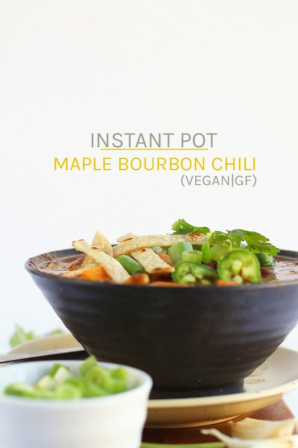 A sweet and spicy soup with a kick, this Maple Bourbon Sweet Potato Instant Pot Chili is the perfect autumnal vegan and gluten-free family meal. #vegan #vegetarian #chili #instantpot #fallrecipes #dinner #veganrecipes #mydarlingvegan