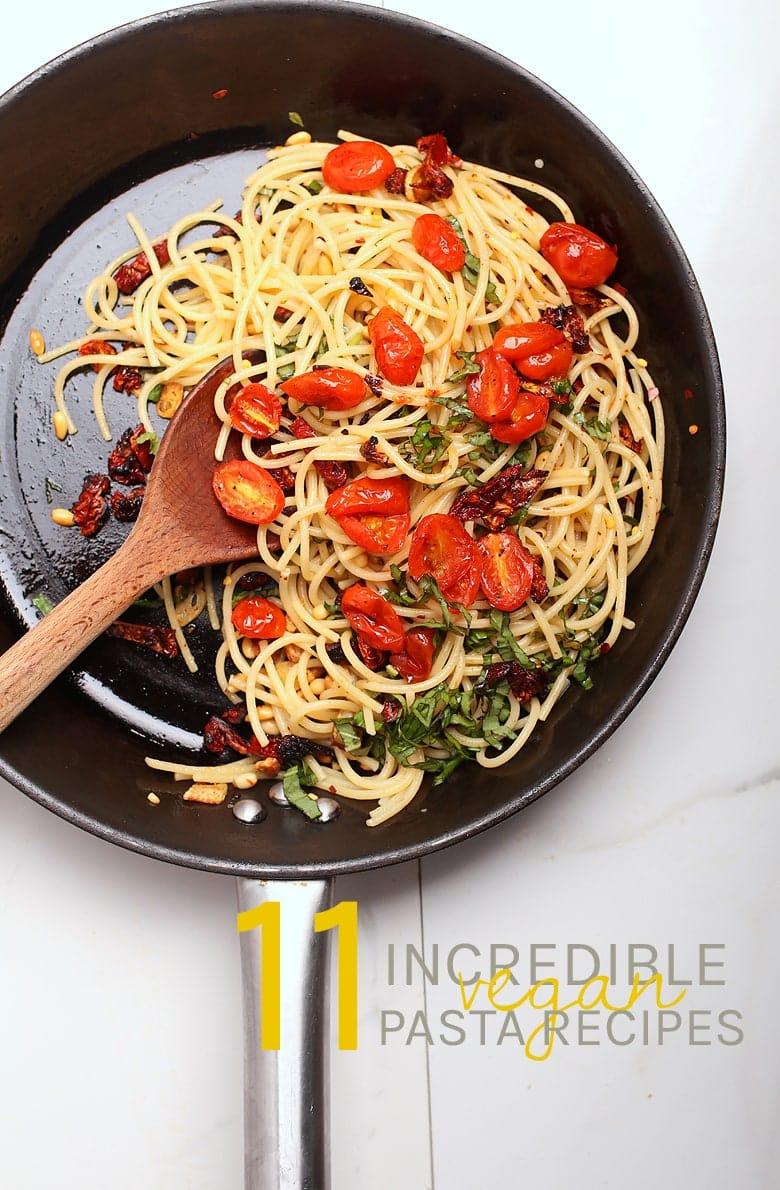 Spaghetti and Tomato Pasta in a skillet