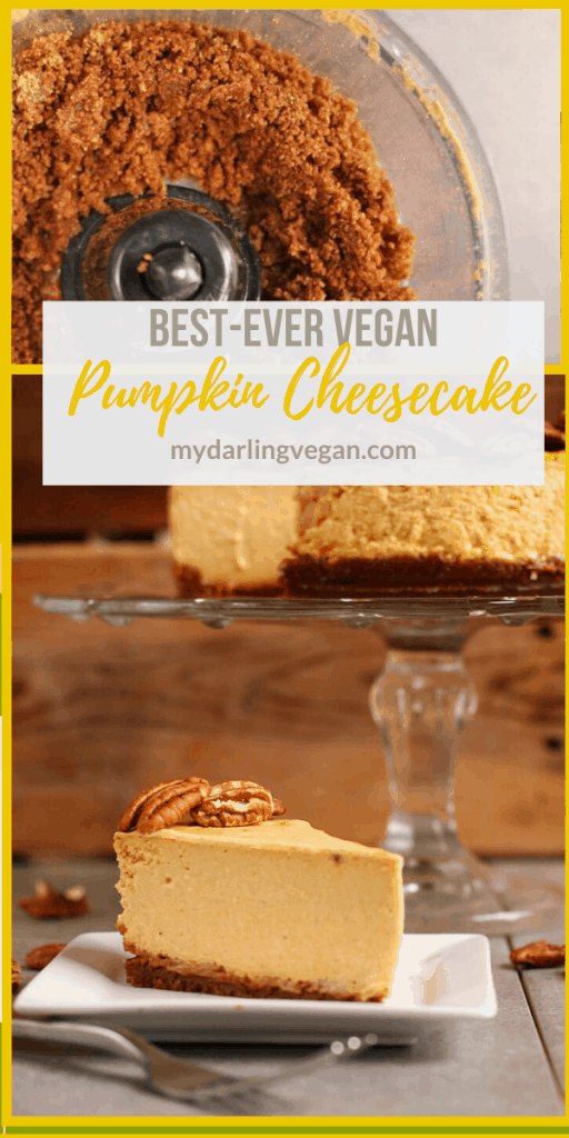 Rich and creamy vegan Pumpkin Cheesecake made with a gingersnap crust and topped with toasted pecans for the perfect vegan Thanksgiving dessert. It's so good, no one will believe it's vegan!