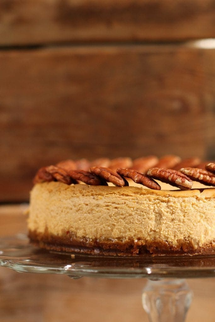 Vegan Pumpkin Cheesecake on a glass cake stand