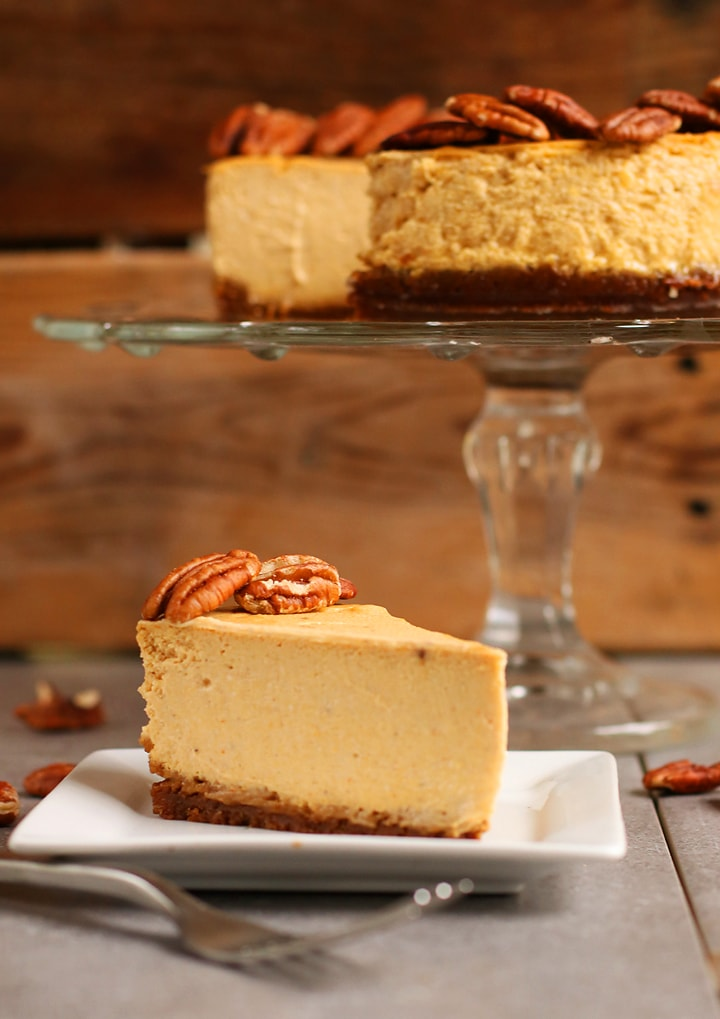 Slice of Vegan Pumpkin Cheesecake