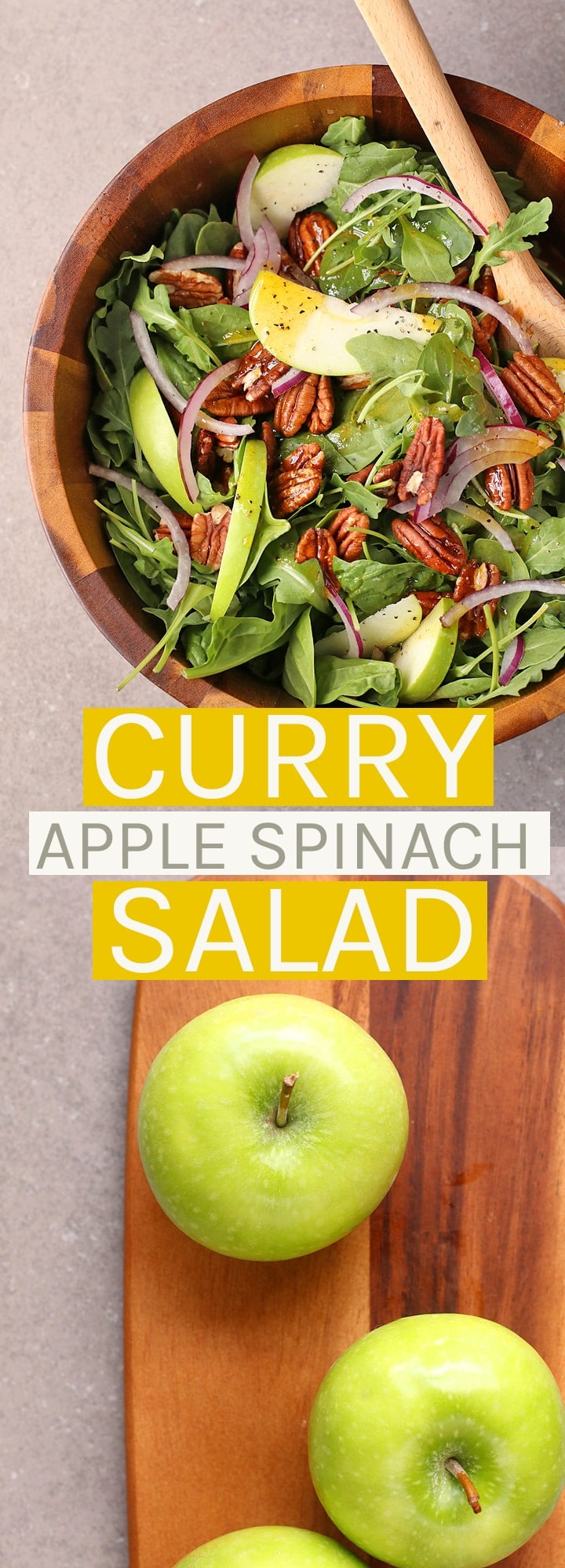 The perfect fall salad, this Curry Apple Spinach Salad is made with a mixture of spinach and arugula and tossed in a curry vinaigrette.