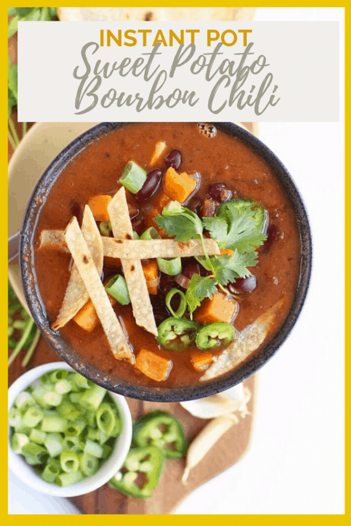 It's a sweet and spicy soup with a kick! This Maple Bourbon Sweet Potato Instant Pot Chili is the perfect autumnal vegan and gluten-free family meal.