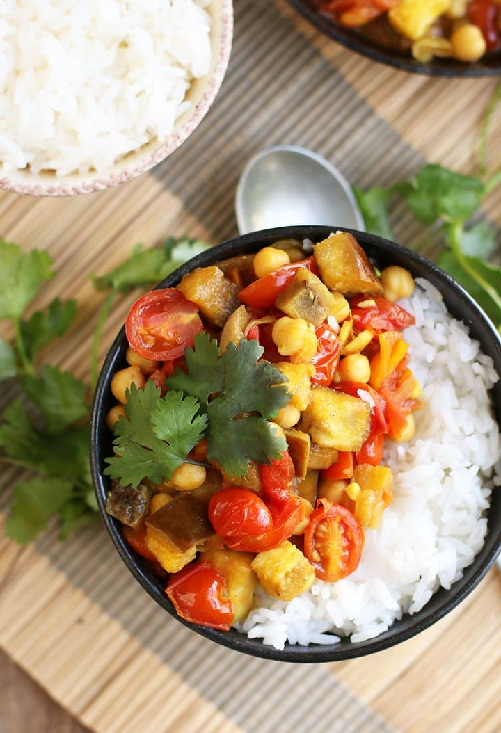 Eggplant Chickpea Curry with rice