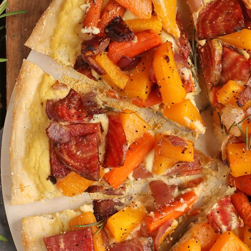 Roasted Vegetable Pizza with Cauliflower Alfredo Sauce