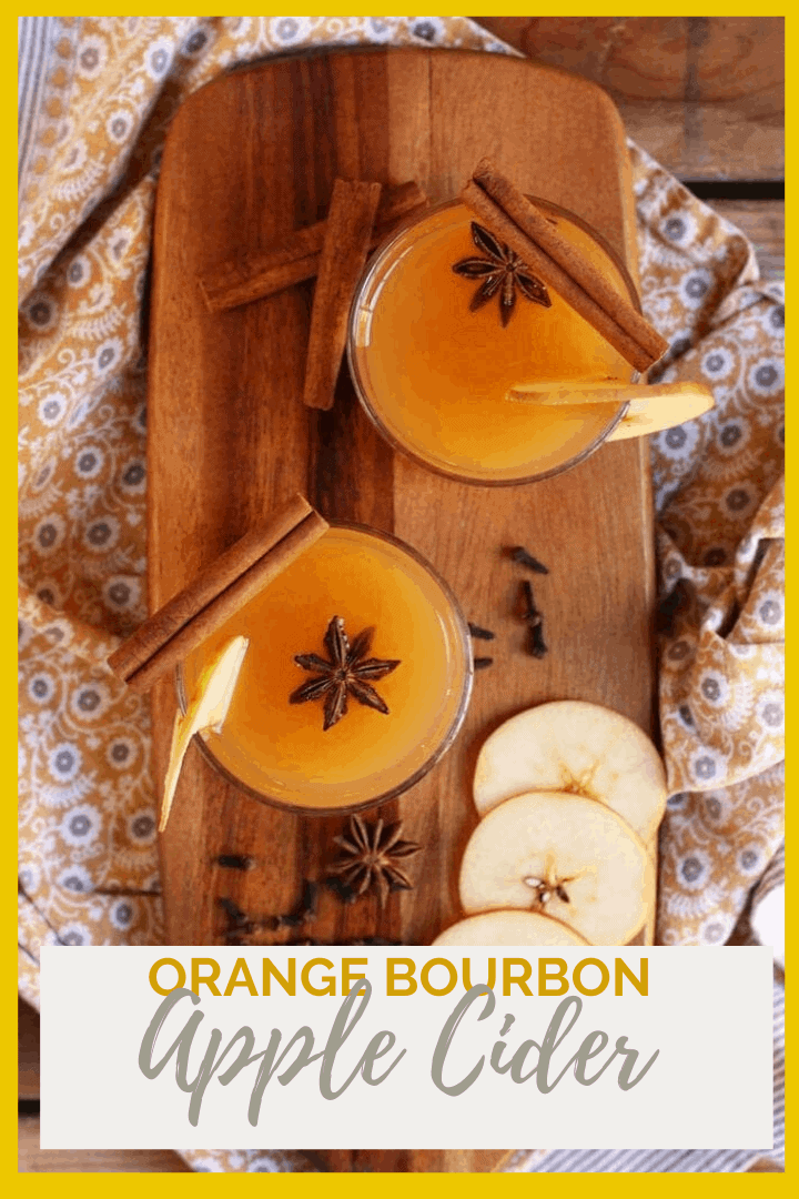 Warm up on these cold autumn nights with an Orange Bourbon Apple Cider. It is spiced with cinnamon, cloves, and star anise with a fresh apple garnish for a delicious evening beverage.