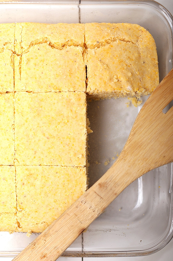 Vegan cornbread in baking pan
