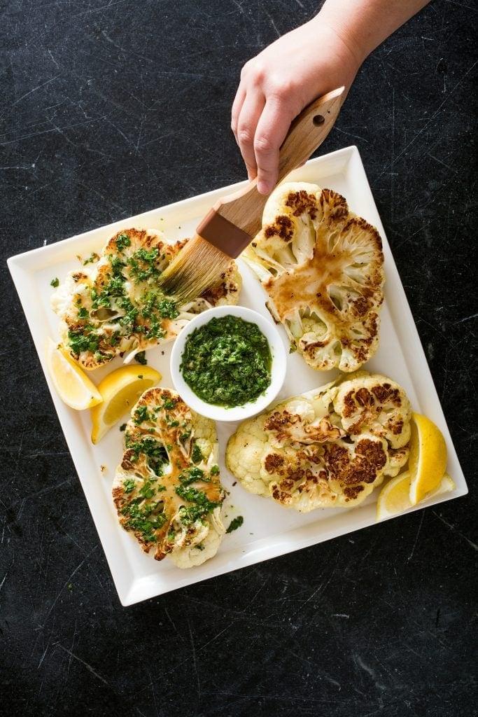 Cauliflower steaks with pesto