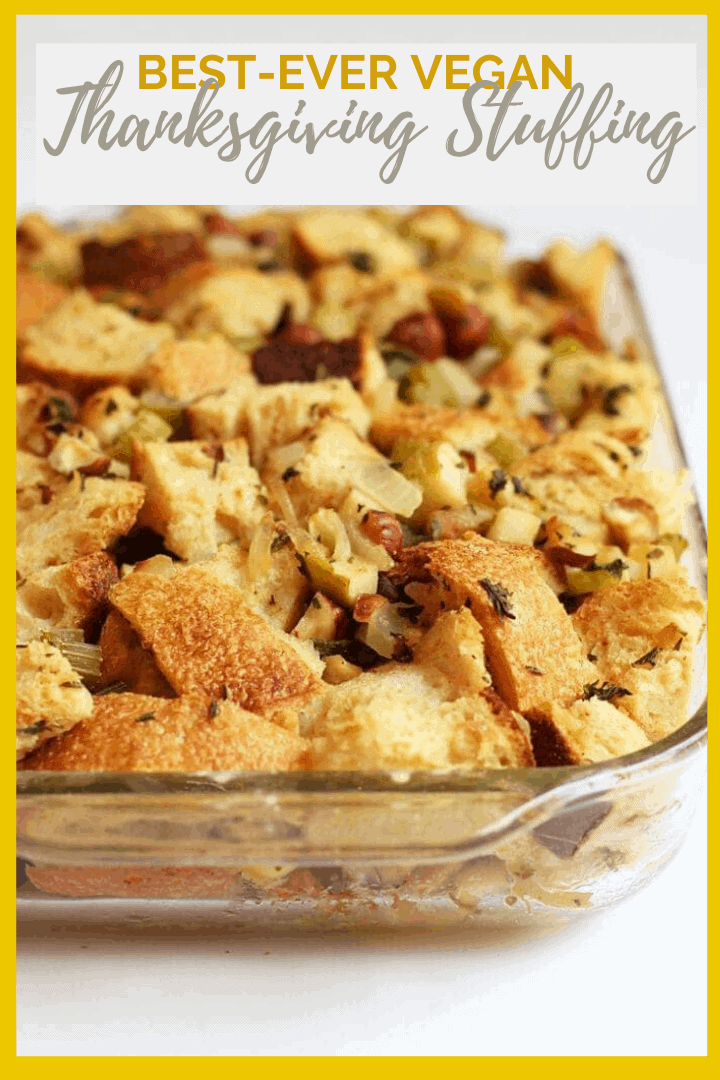 Make your Thanksgiving vegan with this plant-based vegan stuffing. It is made with hazelnuts and apples and seasoned with fresh sage and parsley for the perfect side dish to your holiday meal.