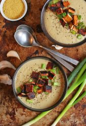 Vegan Cream of Cauliflower Soup with Tofu Bacon