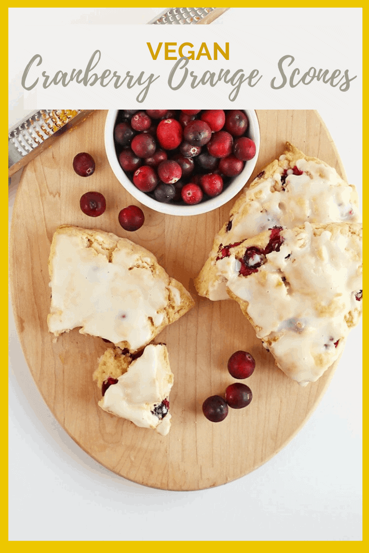 Wake up this Christmas morning with these delightfully sweet and tart Vegan Cranberry Orange Scones topped with Orange Glaze. So good; you won't believe they are vegan!