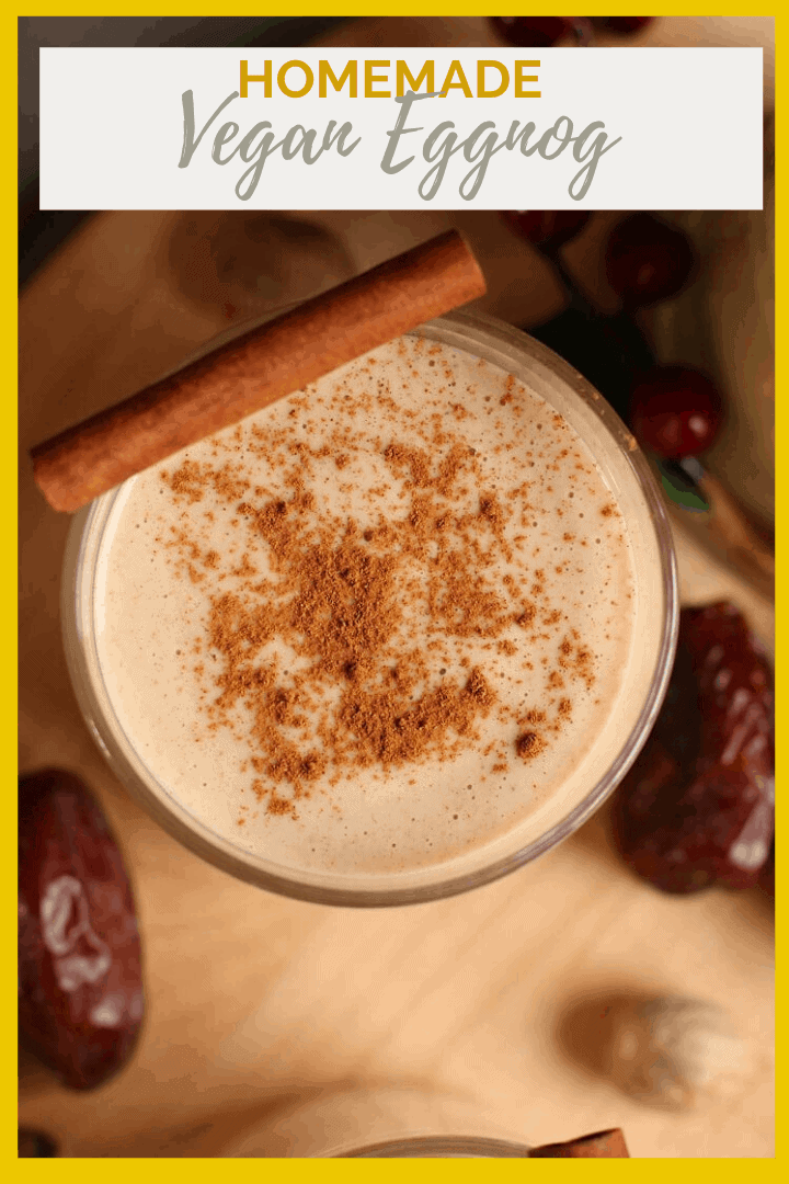 This homemade vegan eggnog is made with homemade cashew milk, raw cashews, and Medjool dates. It's a rich and creamy holiday drink everyone will love.