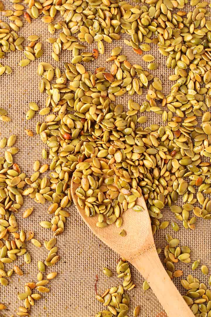 Toasted Pumpkin Seeds on a baking sheet
