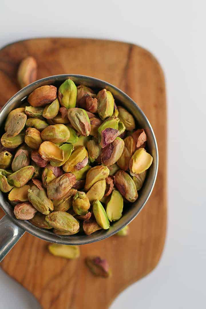 Bowl of shelled pistachios