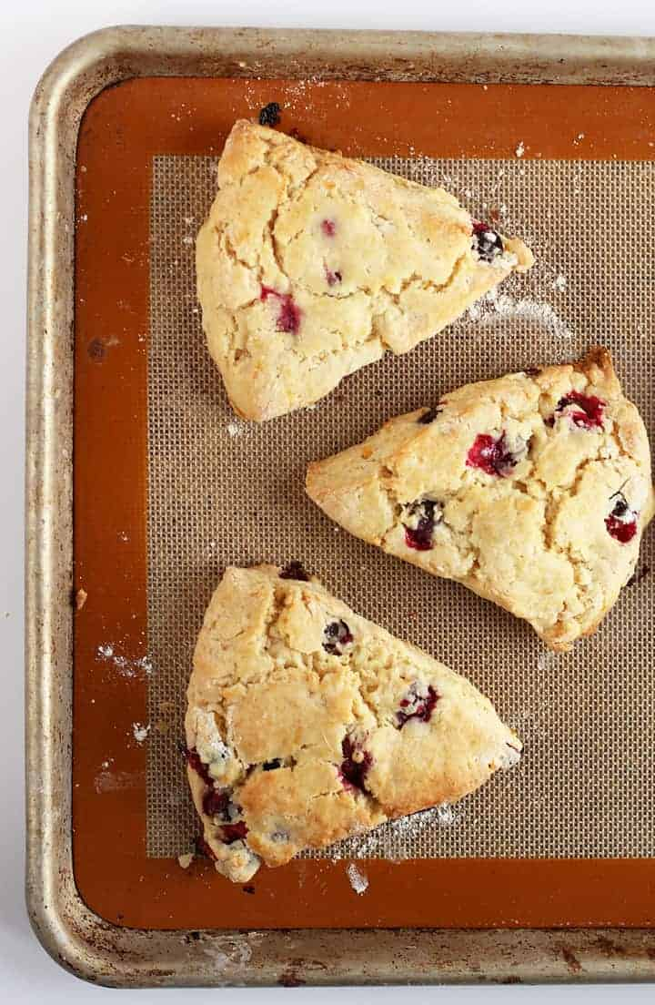 Cranberry Orange Scones on baking sheet