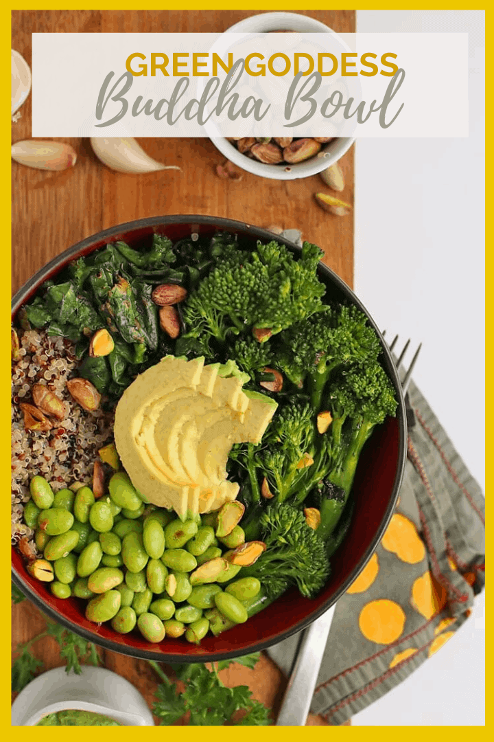 You're going to love this healthy Green Goddess Buddha Bowl. It is filled with quinoa, broccolini, and kale, and topped with an oil-free green goddess dressing. Vegan and gluten-free!