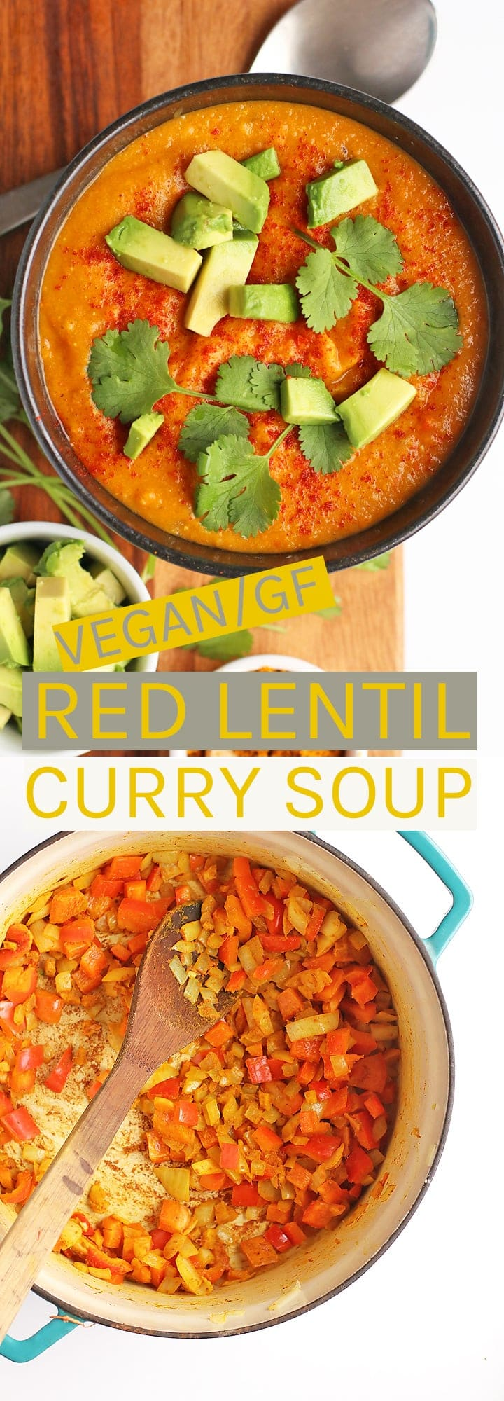 Warm up with this vegan and gluten-free Red Lentil Curry Soup.