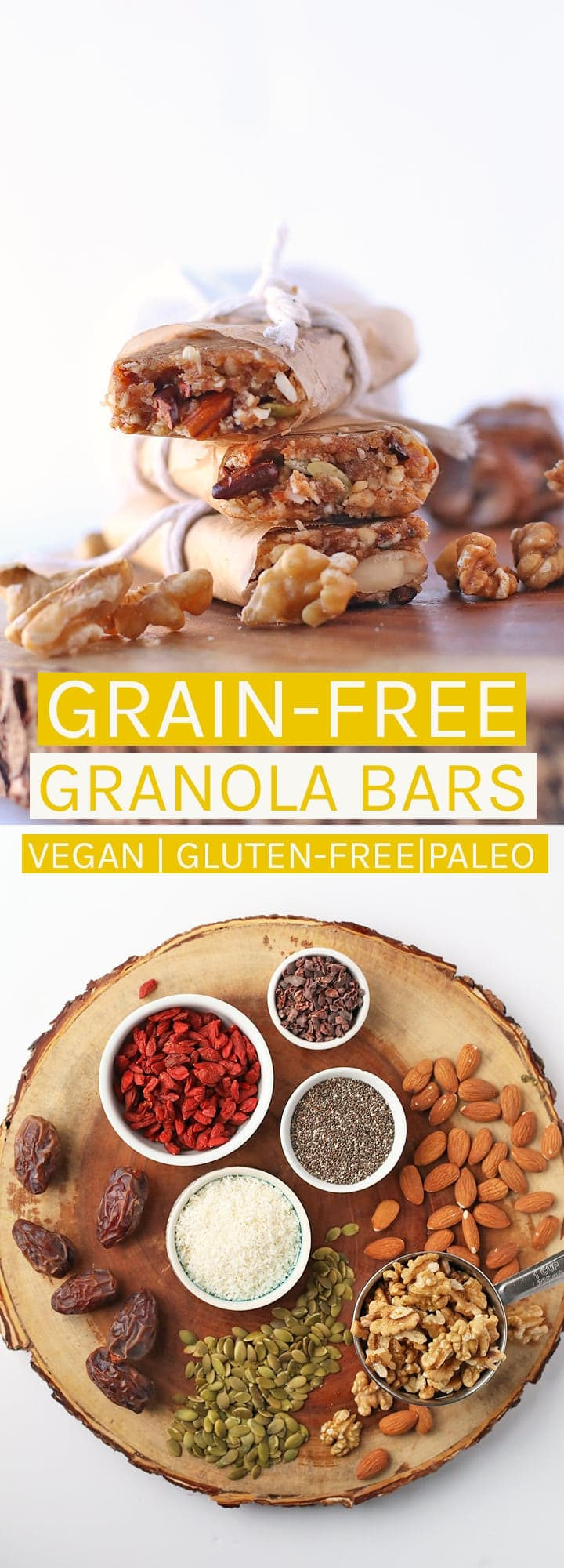 Fuel up with these superfood-packed grain-free granola bars. Vegan and paleo for a snack everyone will love!