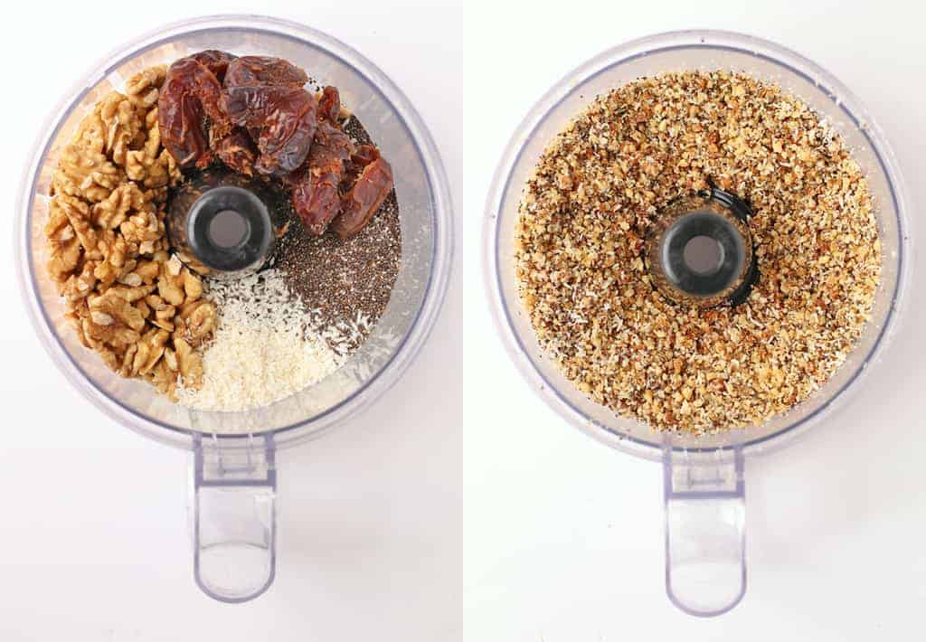 Coconut, walnuts, dates, and chia seeds in a food processor