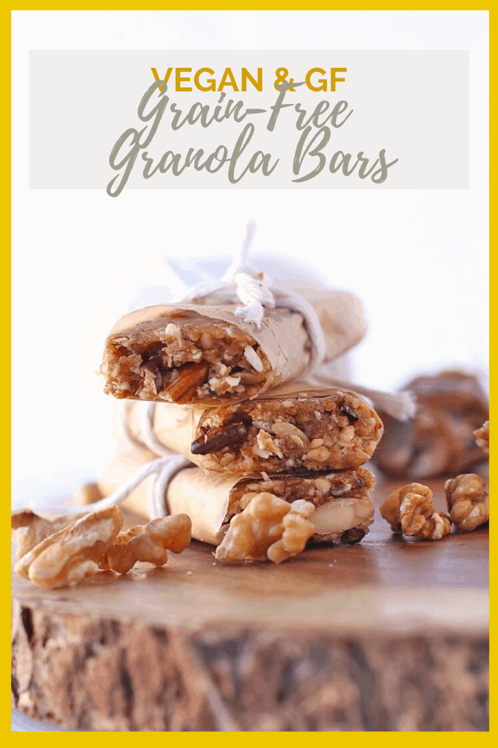 Snack healthy with these Grain-Free Granola Bars. They are filled with superfoods that will give you an automatic energy boost to keep you going. Vegan, and gluten and grain-free!