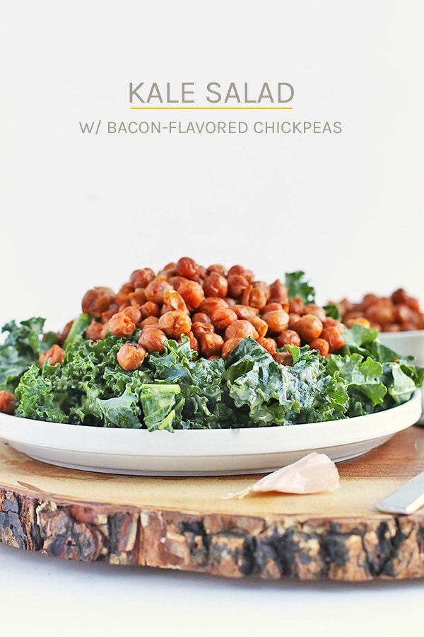 Enjoy this Kale Salad with Bacon Chickpeas and Garlic Dijon Vinaigrette for a light vegan and gluten-free salad that the whole family will love. #vegan #glutenfree #healthy #chickpeas #kale #heahtyrecipes #salad #mydarlingvegan