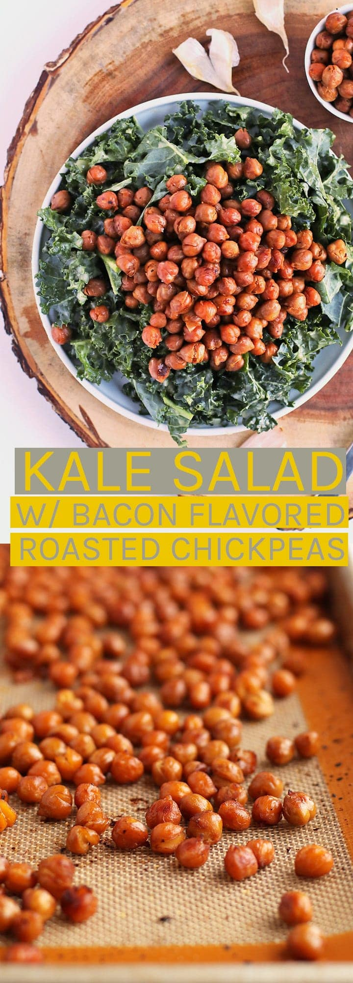 This Massaged Kale Salad with Bacon Flavored Roasted Chickpeas and Garlic Dijon Vinaigrette; a hearty and wholesome vegan gluten-free salad.