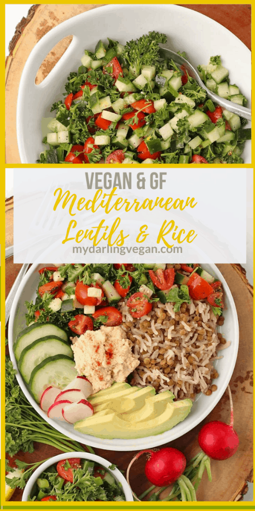 Lighten up with this Mediterranean Lentils and Rice dish. It is topped with fresh Tomato Cucumber Salad, homemade hummus, and fresh veggies. Vegan and Gluten-Free!
