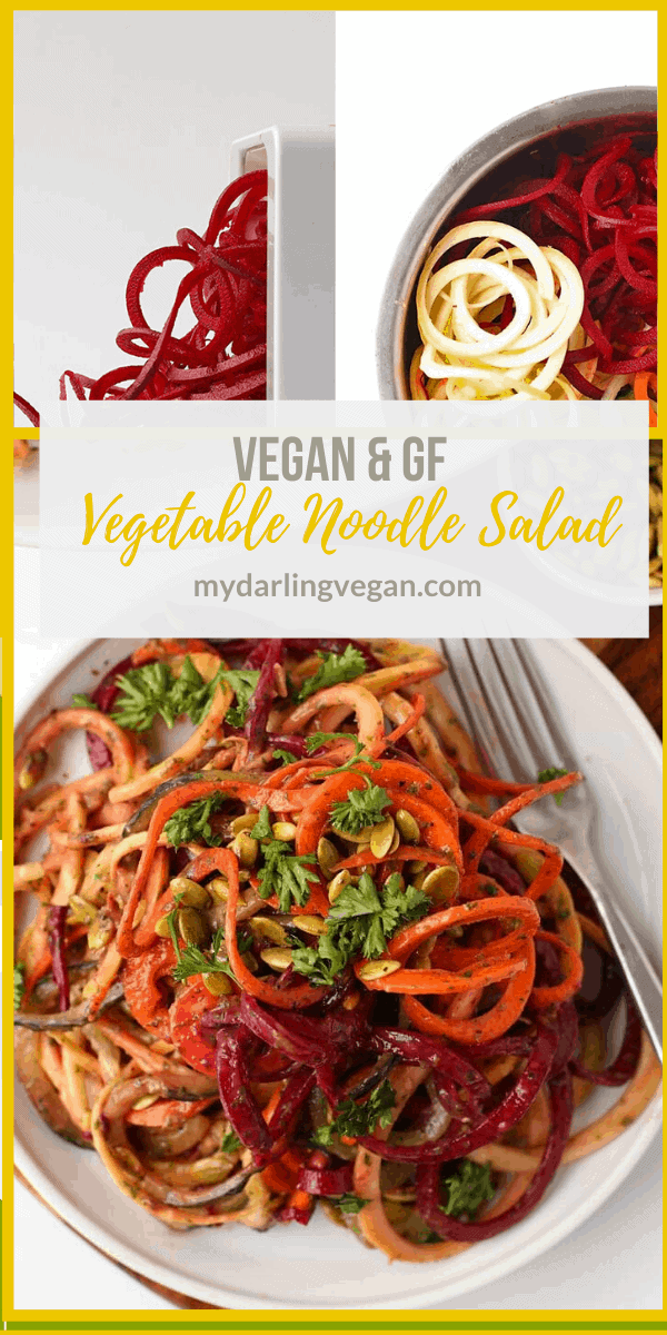 Kick off this year with this healthy vegan and gluten-free Spiralized Vegetable Salad tossed with homemade Green Goddess Dressing and roasted pumpkin seeds.