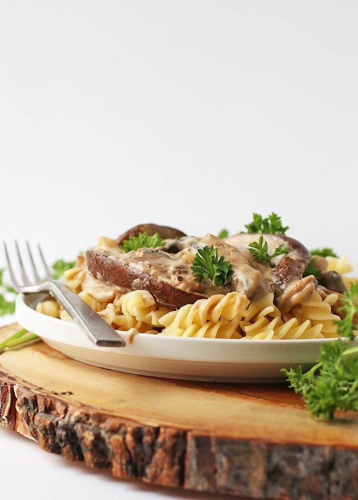 Vegan Mushroom Stroganoff over noodles