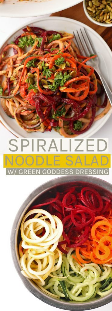 Enjoy this light vegan and gluten-free Spiralized Noodle Salad with homemade Green Goddess Dressing for a delicious and wholesome meal.