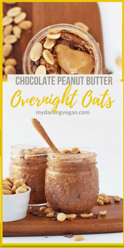 Wake up to this delicious grab-and-go breakfast. These vegan Chocolate Peanut Butter Overnight Oats are a hearty, sweet, satisfying, and wholesome meal. Throw them together in just 5 minutes for a quick and easy breakfast all week long.